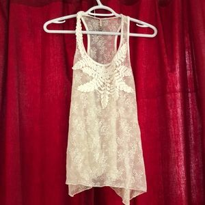 Embroidered lace tank top